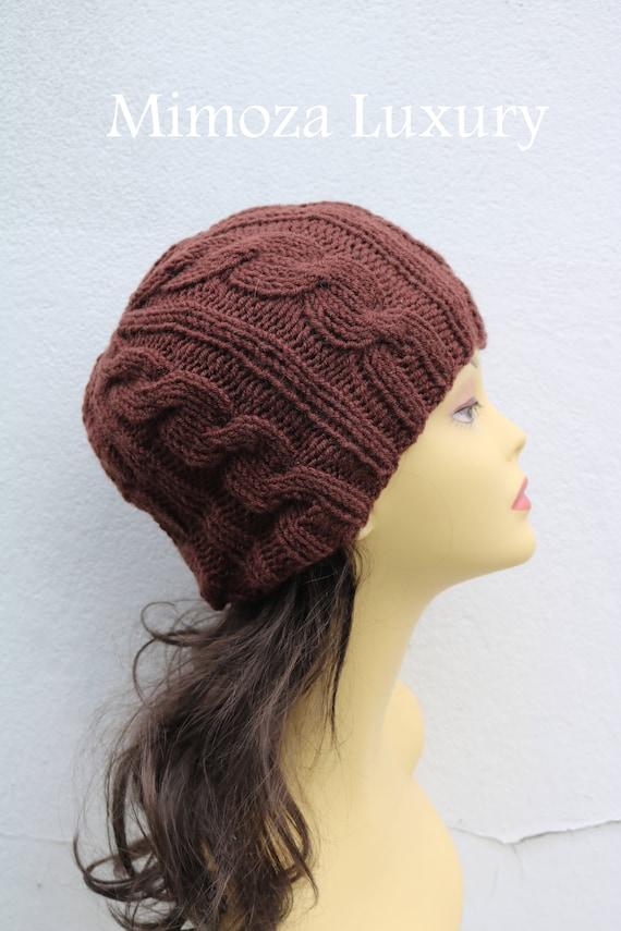 Milk Chocolate women's Beanie hat, Hand Knitted Hat in brown beanie hat, knitted men's, women's beanie hat , brown winter beanie, ski hat