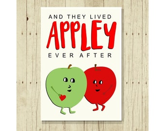 Appley Ever After Funny Wedding Magent, Refrigerator, Small Gift Under 10, Romantic Anniversary, Apple, Romance, Love, Congratulations
