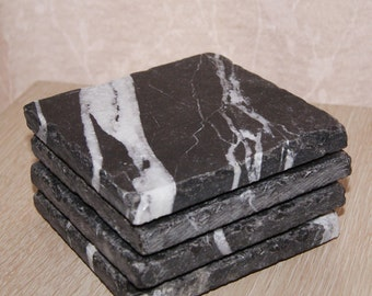 Nero Marble Rustic Natural Stone Coasters
