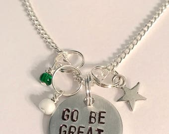 """Voltron Legendary Defender Shiro Pidge Inspired Hand-Stamped Necklace: """"Go Be Great"""""""