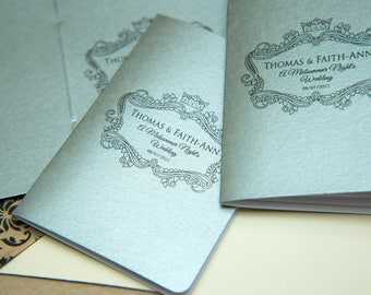 100+ Silver Pearlised Mini Notebook Favours. Custom wedding favor place cards, wedding decor. Unique Notepad favour. Personalised favours