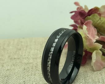 Personalized Titanium Ring, Free Engraving, Custom Engraved Anniversary Ring, Eternity Wedding Ring, Promise Ring