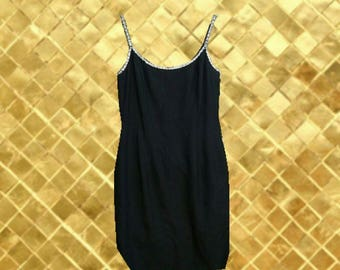 Vintage 90s Beaded Black Fitted Formal Dress (Size 8)