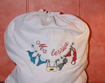 Bag clothes dirty white linen