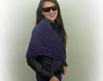 Hand-knitted Triangular Shawl in Dark Purple