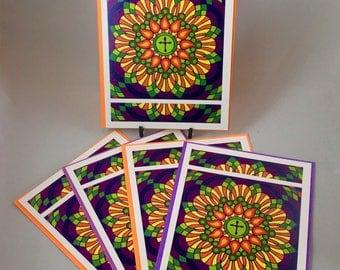 Christian greeting card, Confirmation gift, Religious greeting cards, blank greeting cards handmade set, colorful cross prints, mandala art