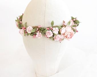 Blush Flower crown, Pink Bridal flower crown,  Floral crown, Wedding flower crown, Bridal floral crown, Leaf flower crown, Woodland Wedding