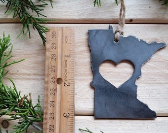 Minnesota State Christmas Ornament Raw Steel Personalize Engrave Love MN Metal Holiday Decoration Stocking Stuffer House Warming Gift