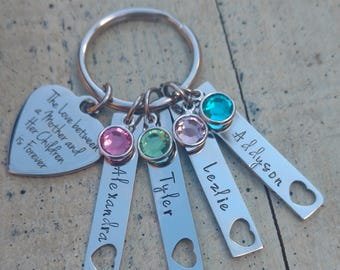 Custom Mother Key chain / hand stamped jewelry / Mother Keychain / personalized Mother Keychain / Mother 1 2 3 4 5  name birthstone Keychain