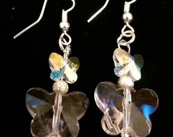 Ladies ear rings, ear rings, crystal ear rings, butterfly ear rings, dangle ear rings, fashion earrings, ladies earrings, butterfly earrings