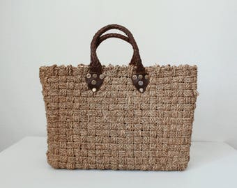 Market bag - Woven - Leather