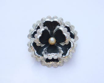 Black Flower Brooch / Vintage 60's Flower Power Brooch / Hand Painted / Made in England