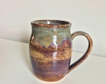 18 oz Handmade Mug / Wheel Thrown  / Olive Green / Purple / Violet / Brown