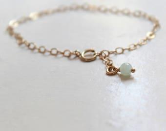 Jade Bracelet Gold Filled Bracelet Jadeite jewelry pale green jade semi precious gemstone bracelet dangle bracelet dainty gold jewelry