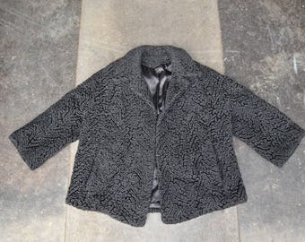 Fur Coat black | Faux Persian Lamb | 60s vintage Rocker chick Coat  | 90s grunge rockstar jacket hipster | Warm Winter coat Medium Large