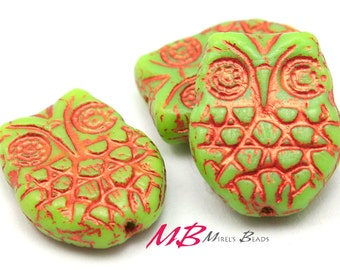 6 pcs Czech Owl Beads, Glass Green with Cooper Finish, 18x15mm