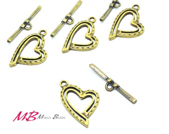 High Quality Large Antique Brass Plated Toggle Clasps, 27mm 2 Sets
