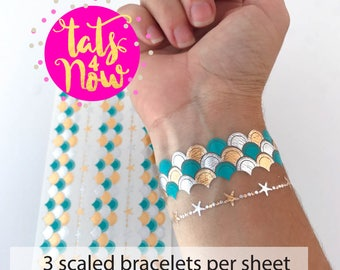 Lets be mermaids // Mermaid scales tattoo bracelet // mermaid bachelorette themed tattoos // mermaid party // by Tats4now