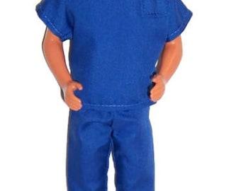 His Fashion Doll Clothes-Royal Blue Scrubs