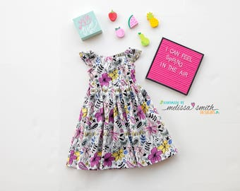 Little Girl Dress, Spring Dress, Summer Dress, Floral Dress, Baby Girl Dress, Toddler Dress, Flutter Sleeves, Sizes 3/6mths-Girls 9