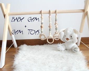 Baby gym and organic baby gym toy / Toy made from organic baby cotton yarn