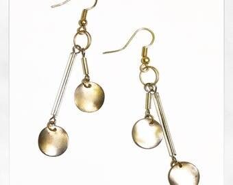 dangle gold earrings. || the OPIN