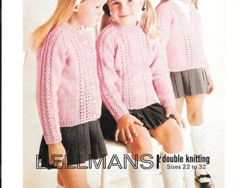 PDF knitting pattern for a double knit round and V neck cardigan and jumper to fit chest sizes 22 - 32 inches.