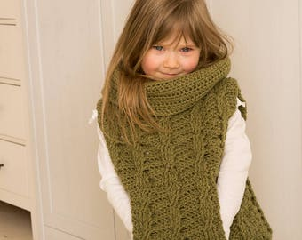Sale! CROCHET PATTERN cable poncho Cora with pocket and oversized cowl (toddler and kids sizes)