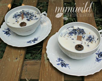Cup Of Vintage-vintage-soy wax candle in Cup-crafts-Teacup blue English