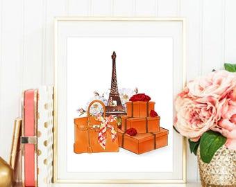 Fashion Print. Hermes Print. Hermes Box. Hermes Bag. Hermes Birkin. Fashion Illustration. Modern Home Décor.