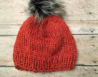 Child size Knit beanie, knit hat, knit beanie with faux fur