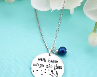 With brave wings she flies hand stamped necklace with glass pearl! Inspirational gift!
