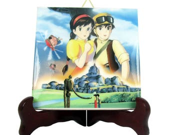 Castle in the Sky Studio Ghibli Laputa ceramic tile   Pazu Sheeta Miyazaki collectible gift idea wall hanging decor M3