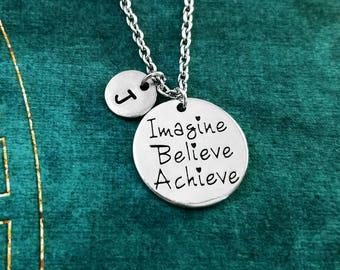 Imagine Believe Achieve Necklace Believe Necklace Motivational Jewelry High School Graduation Jewelry College Gift Inspirational Initial