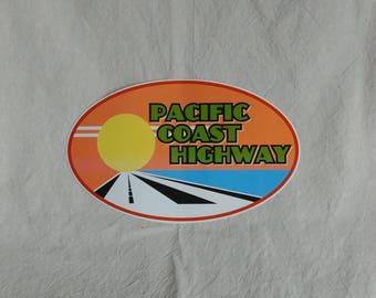 "Pacific Coast Highway sticker, 7 1/2"" x 4 1/2"", gloss vinyl, weatherproof"