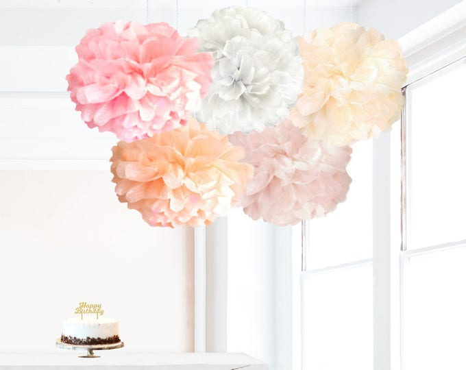 Blush pink decor, light pink party decor, Light Pink White Ivory Peach Blush Pom Poms, Tissue Paper Pom Pom set 5 paper flowers wall decor