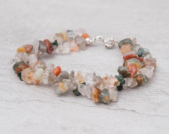 Double Strand Bracelet ~ Quartz Bracelet ~ Stone Chip Jewelry ~ Healing Stone Bracelet ~ Gemstone Bracelet ~ Auntumn Color Jewelry ~ Gift