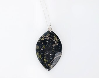 Black Plum Jasper Necklace ~ Sterling Silver Pendant Stone Necklace ~ Black and Green Stone Necklace ~ Large Stone Necklace ~ 22 Inch ~ Gift