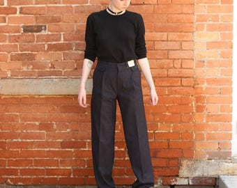 High Waisted Pleated Vintage 1980s Cacharel NOS Mens Trousers