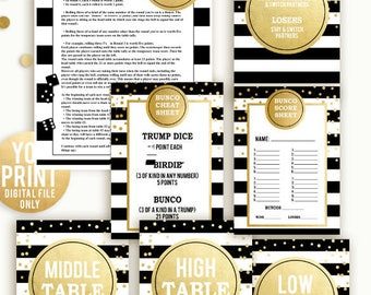 Bunco Party Printables, Bunco party Rules, Bunco Signs and Decor, Bunco party, DIGITAL, YOU PRINT, Bunco table signs, bunco score sheet