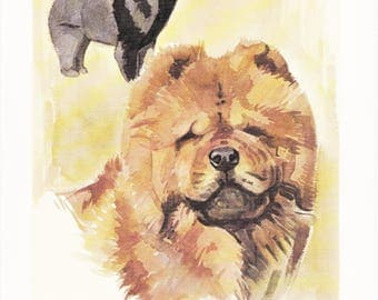 Chow Chow Songshi Quan Chinese dog breed vintage print illustration gift for dog lover portrait by Willy E. Bär  8x11.5 inches