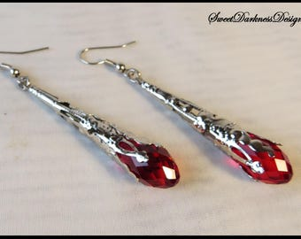 RED CRYSTAL EARRINGS Silver Victorian FiLIGREE earrings RUbY Earrings Steampunk Victorian Earrings by SweetDarknessDesigns