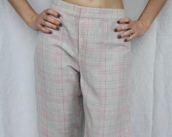 Linen pants Plaid pants Women's pants Plaid trousers Checkered  pants Beige pink pants Low waist pants Tartan plaid pants Large size pants