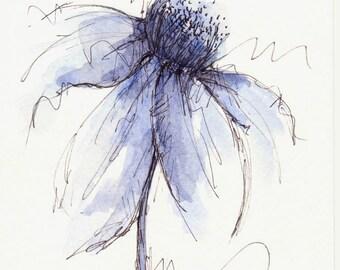 Original Watercolor Cone Flower Art Painting Blue Pen and Ink Watercolor Hand Painted Flower
