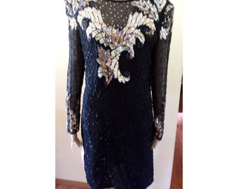 Vintage '80's NOS Laurence Kazar Black Beaded W/ Silver & Gold Sequin Embellished Evening/Cocktail Dress Original Tags/ Nordstrom Size PS
