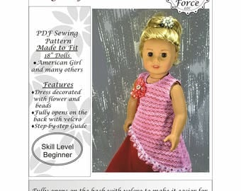 American girl doll clothes pattern 18 inch doll clothes pattern, PDF Sewing Pattern, Doll clothes PDF sewing pattern Long Asymmetrical Dress