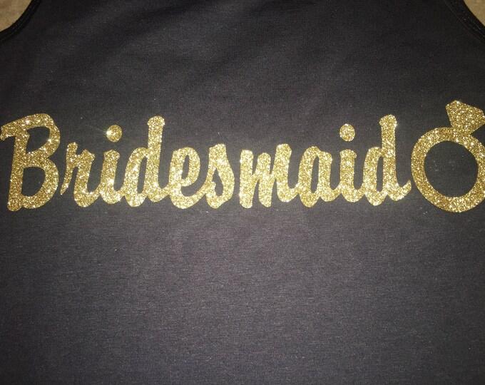 Eco Bridesmaid Tank Tops . Bridesmaid gold glitter shirts. Bridesmaid Gifts. Gold Weddings . Maid Of Honor, Matron,  Mother of The Bride