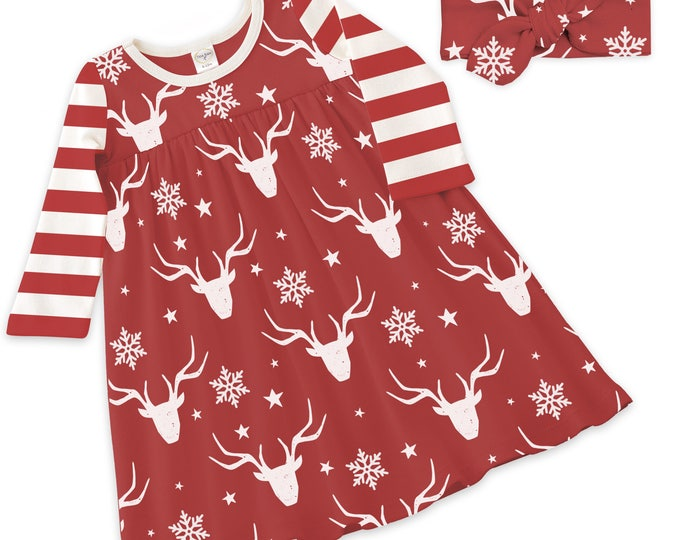 Baby Girl Christmas Dress,  Baby Girl Christmas Reindeer Outfit, Long Sleeve Baby Girl Dress Red & Ivory, Tesa Babe, Tesababe