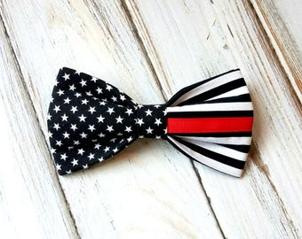 Thin Red Line Flag Dog Bow Tie, pet bow tie, collar bow tie, wedding bow tie