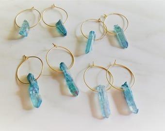 Crystal Hoops, Gold Hoops, Blue Gem Hoops, Crystal Earrings, Quartz Hoops, Gold Hoop Earrings, Golden Hoops, Stone Hoops, Minimal Hoops